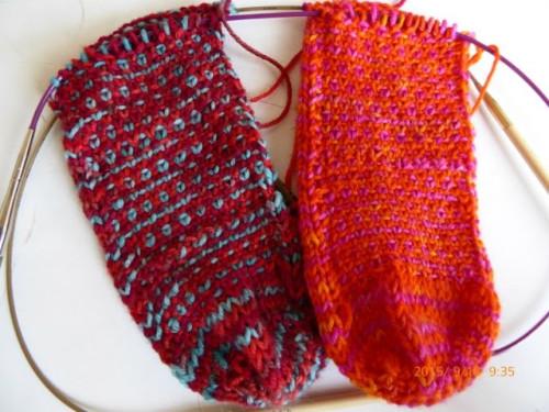 nadelspiel Sockenkalender * 2 Socken gleichzeitig stricken * Ferse Teil 1